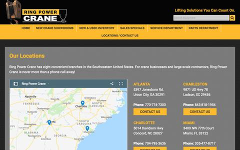 Screenshot of Contact Page Locations Page ringpowercrane.com - Locations | Ring Power Crane | With Eight Locations in the Southeastern U.S. | New and used heavy crane sales, parts, and service - captured Nov. 17, 2018