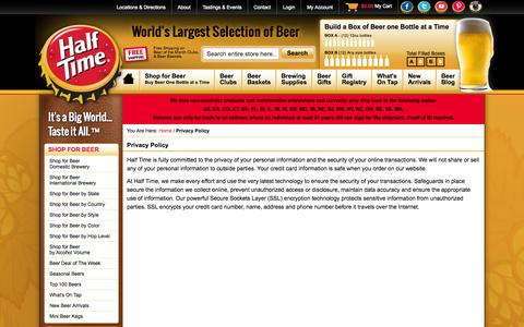Screenshot of Privacy Page halftimebeverage.com - World's Largest Selection of Beer Online - Half Time - captured Sept. 24, 2014