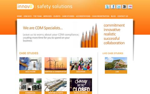 Screenshot of Case Studies Page innov8safetysolutions.com - Innov8 Safety Solutions   Health and Safety Consultants   CDM Specialists   Site Safety Services   Innov8 Safety Solutions - captured Sept. 30, 2014