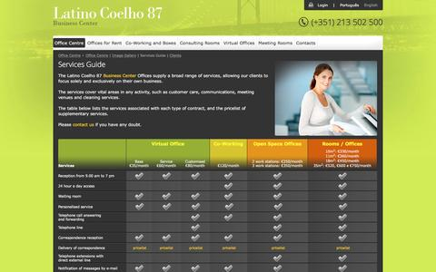 Screenshot of Services Page latinocoelho87.pt - Latino Coelho 87 - Services Guide - Lisbon Office Centre - Offices for Rent, Co-working and Virtual Offices - captured Oct. 26, 2016