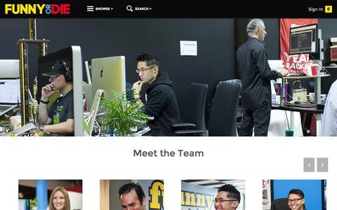 Screenshot of Jobs Page funnyordie.com - Funny Or Die - Careers - captured Jan. 13, 2016