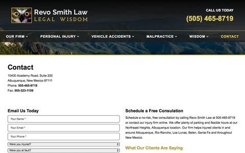 Screenshot of Contact Page revosmithlaw.com - Contact | Revo Smith Law - Albuquerque, NM - Injury Attorneys - captured Dec. 19, 2016