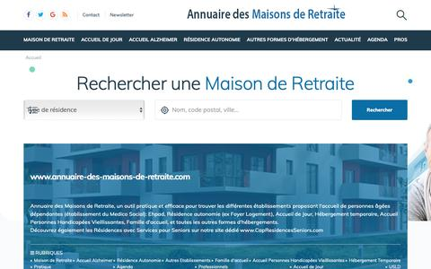 Screenshot of Home Page annuaire-des-maisons-de-retraite.com - Annuaire des Maisons de Retraite et Ehpad - captured Oct. 25, 2018