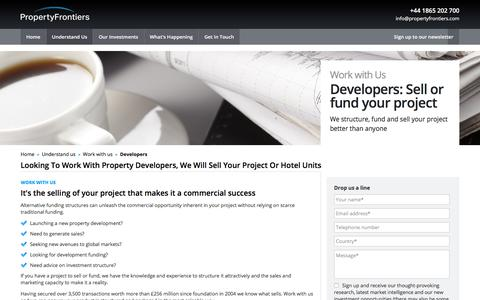 Screenshot of Developers Page propertyfrontiers.com - Property Developer | Sell Your Project | Sell Hotel Units - captured July 24, 2018