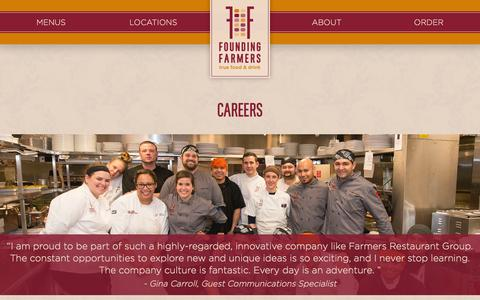 Screenshot of Jobs Page wearefoundingfarmers.com - Restaurant Jobs | DC - Montgomery County/Rockville -Tysons Corner, VA - captured Feb. 9, 2016