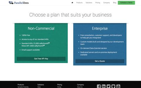 Screenshot of Pricing Page paralleldots.com - ParallelDots - captured July 11, 2016