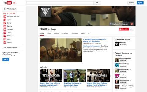 Screenshot of YouTube Page youtube.com - KMWKravMaga  - YouTube - captured Oct. 23, 2014