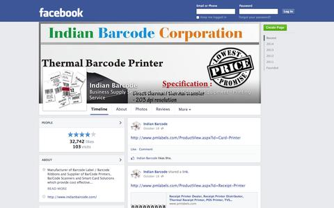 Screenshot of Facebook Page facebook.com - Indian Barcode - New Delhi, India - Business Supply Service, Commercial & Industrial Equipment | Facebook - captured Oct. 23, 2014