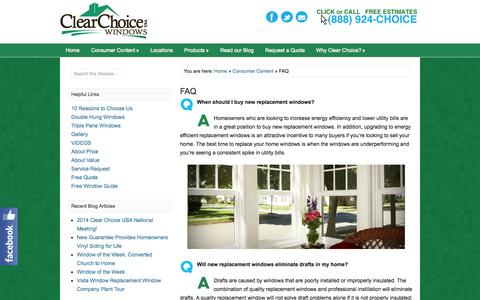 Screenshot of FAQ Page clearchoice-usa.com - FAQ - Replacement Windows from Clear Choice USA - captured Sept. 29, 2014