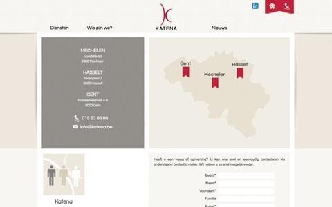 Screenshot of Contact Page katena.be - Katena : contact - captured Sept. 30, 2014