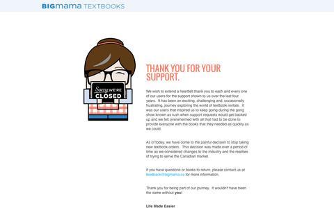 Screenshot of Contact Page bigmama.ca - Textbook Rental - BigMama Textbook Rentals Canada - captured Oct. 5, 2014
