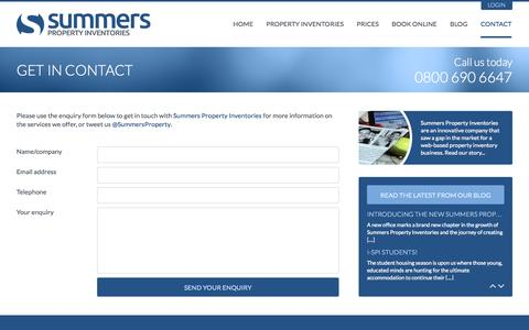 Screenshot of Contact Page summersproperty.com - Summers Property Inventories - Get in Touch - captured Oct. 6, 2014