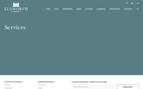 Screenshot of Services Page lulworth.com - Services - Lulworth Estate - captured Feb. 24, 2018