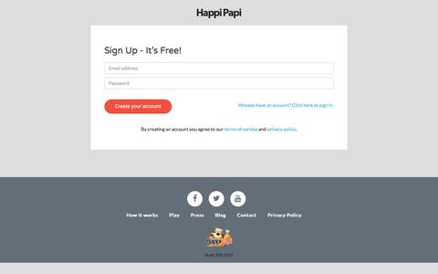 Screenshot of Signup Page happipapi.com captured May 14, 2017