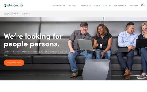 Screenshot of Jobs Page efinancial.com - Careers | eFinancial - captured July 16, 2018