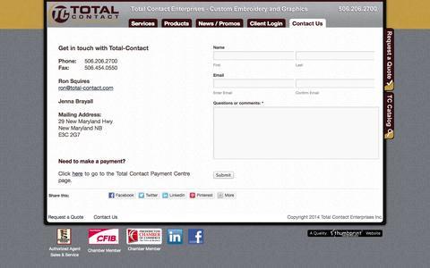 Screenshot of Contact Page total-contact.com - Contact Us   Total-Contact - captured Oct. 7, 2014