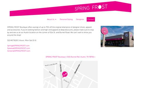 Screenshot of Contact Page designerclearancehouse.com - SPRING FROST - captured Aug. 6, 2018