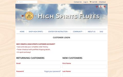 Screenshot of Login Page highspirits.com - Account - High Spirits Flutes - captured Dec. 10, 2015