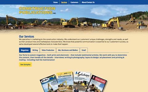 Screenshot of Services Page constructionpublications.com - Construction Publications, Inc. - Services - captured Nov. 11, 2016