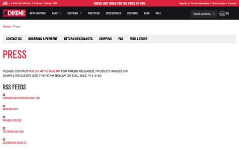 Screenshot of Press Page chromeindustries.com - Press | Chrome Industries - captured Sept. 28, 2016
