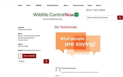 Screenshot of Testimonials Page wildlifecontrolnow.com - Testimonials - captured Nov. 5, 2017