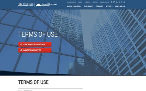 Screenshot of Terms Page pyramidbrokerage.com - TERMS OF USE - Pyramid Brokerage - captured Sept. 30, 2018