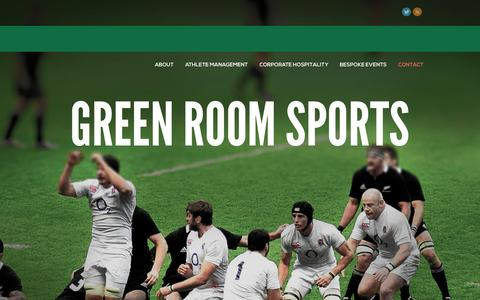 Screenshot of Home Page Contact Page greenroomsports.co.uk - Green Room Sports - Welcome to Green Room Sports - captured Sept. 30, 2014