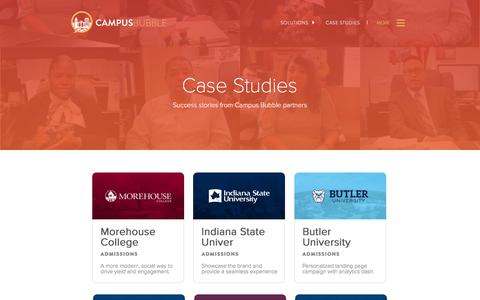 Screenshot of Case Studies Page campusbubble.com - Success Stories from Campus Bubble Partners | Campus Bubble - captured Feb. 29, 2016