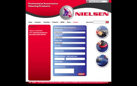 Screenshot of Contact Page nielsenchemicals.com - Contact Us | Nielsen Chemicals | Automotive Car Cleaning Products, Valeting Care Products & Janitorial, Workshop, Interior and Retail Range of Products - captured Sept. 30, 2014