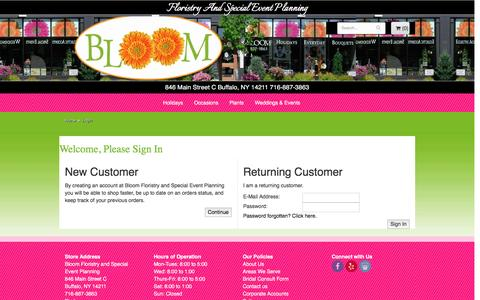 Screenshot of Login Page bloomfloristbuffalo.com - Buffalo Florist   Buffalo NY Flower Shop   Bloom Floristry and Special Event Planning - captured Nov. 21, 2016