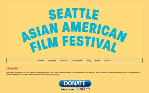 Screenshot of Support Page seattleaaff.org - Donate | 2018 Seattle Asian American Film Festival - captured Oct. 18, 2018