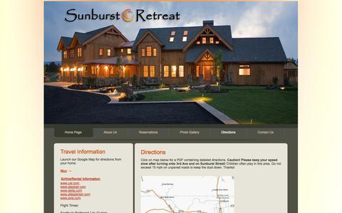 Screenshot of Maps & Directions Page sunburstretreat.com captured Oct. 7, 2014