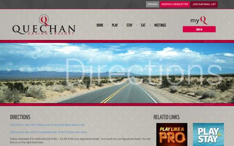 Screenshot of Maps & Directions Page playqcr.com - Visit Quechan Casino Resort - Yuma, Arizona - captured Nov. 14, 2016