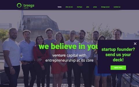 Screenshot of Home Page breega.com - Seed Funding Europe | France | Breega Capital - captured Oct. 6, 2018