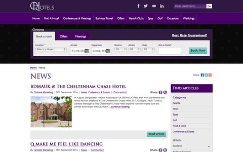 Screenshot of Press Page qhotels.co.uk - News - captured Sept. 19, 2014