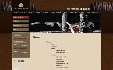 Screenshot of Site Map Page cinnamonclub.com - Sitemap - captured Sept. 19, 2014