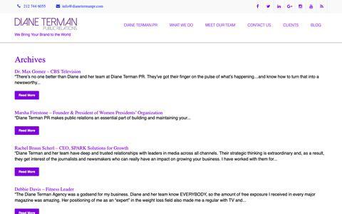 Screenshot of Testimonials Page dianetermanpr.com - - Diane Terman Public Relations - captured Nov. 14, 2018