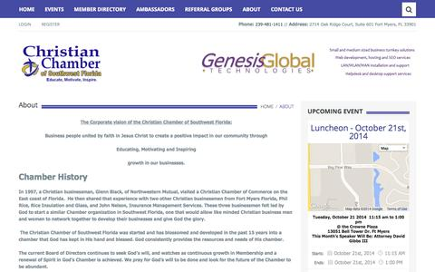 Screenshot of About Page hischamber.org - About | Christian Chamber of Southwest Florida - captured Oct. 27, 2014