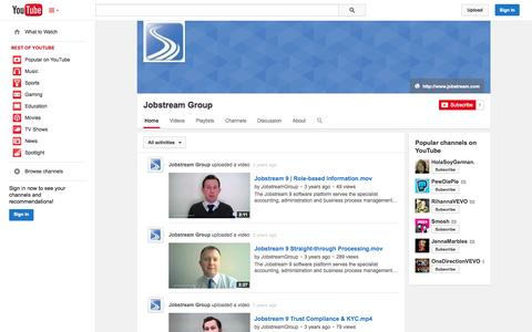 Screenshot of YouTube Page youtube.com - Jobstream Group  - YouTube - captured Oct. 23, 2014