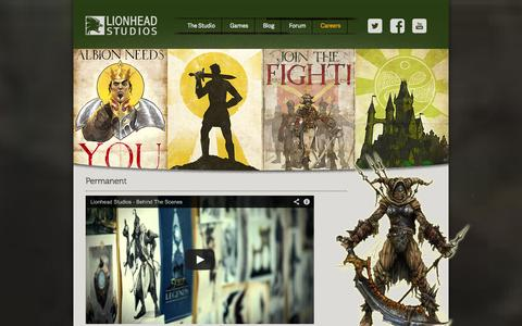Screenshot of Jobs Page lionhead.com - Lionhead Studios   Game developers and creators of the Fable series of games for Xbox - captured Sept. 19, 2014