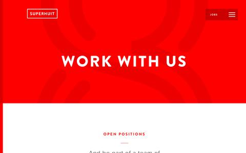 Screenshot of Jobs Page superhuit.ch - Work with us - Superhuit - captured Aug. 7, 2018