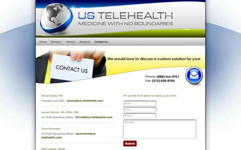 Screenshot of Contact Page us-telehealth.com - US Telehealth - Contact Us - captured Oct. 26, 2014