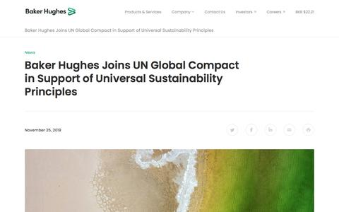 Screenshot of Support Page bakerhughes.com - Baker Hughes Joins UN Global Compact in Support of Universal Sustainability Principles  | Baker Hughes - captured Dec. 7, 2019