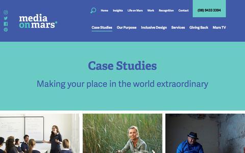 Screenshot of Case Studies Page mediaonmars.com.au - Case Studies | Media on Mars - captured Sept. 20, 2018