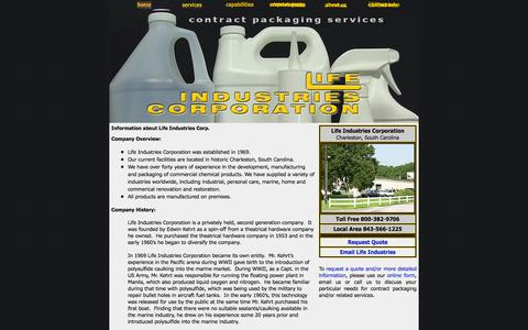 Screenshot of About Page lifeindustries.com - ABOUT US: Company information on Life Industries Corporation - Charleston, SC - captured Oct. 3, 2014