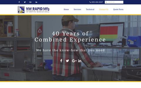 Screenshot of Contact Page nwrapidmfg.com - NW Rapid Manufacturing, Contact Us - captured Nov. 30, 2016