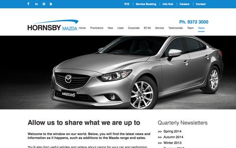 Screenshot of Press Page hornsbymazda.com.au - Allow us to share what we are up to - Hornsby Mazda - captured Sept. 30, 2014