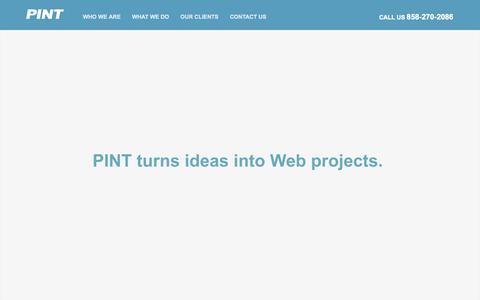 Screenshot of Home Page pint.com - PINT | San Diego advanced web development - captured Sept. 20, 2015