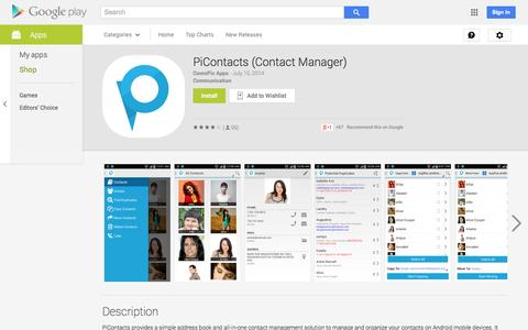 Screenshot of Android App Page google.com - PiContacts (Contact Manager) - Android Apps on Google Play - captured Oct. 23, 2014