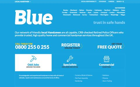 Screenshot of Home Page trustinblue.com - Reliable Local Handymen | Blue - captured Oct. 5, 2014